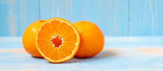 Freshness mandarin oranges on wood table