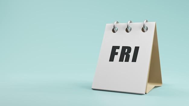 紙の卓上カレンダーの3dレンダリングで金曜日の金曜日