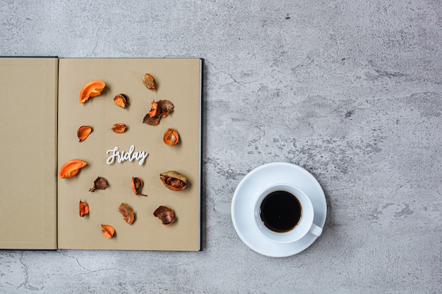 Friday flat lay minimalist autumn concept with copy space