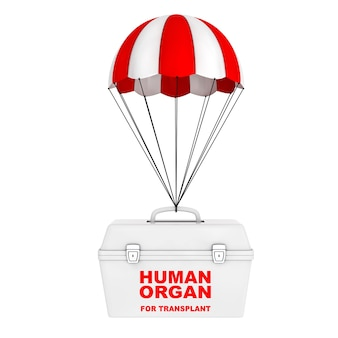 흰색 바탕에 빨간색과 흰색 낙하산을 타고 날아가는 인간 기증자 장기를 운반하기 위한 냉장고 상자. 3d 렌더링.