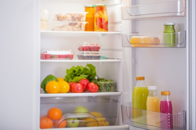 Fridge with healthy food
