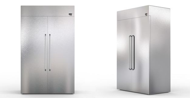 흰색 바탕에 문이 나란히 있는 냉장고