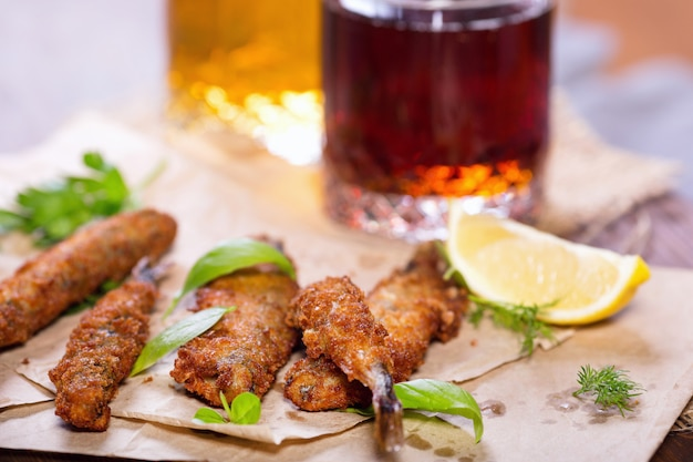 Fried anchovies in batter