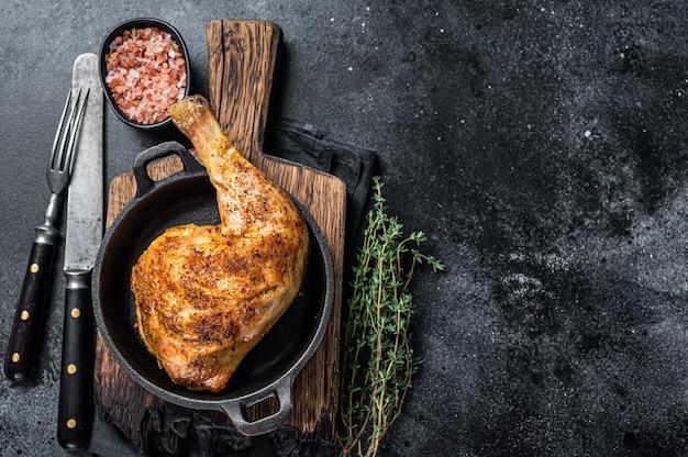 Жареная куриная ножка барбекю на сковороде