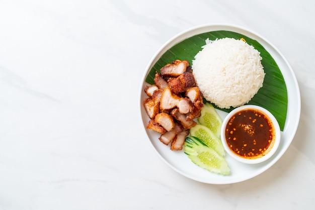 豚バラ肉の炒め物とアジアンスタイルのスパイシーソースライス