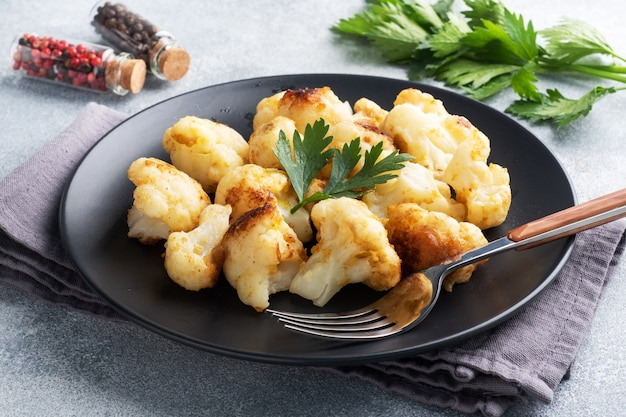 Fried cauliflower on a white plate