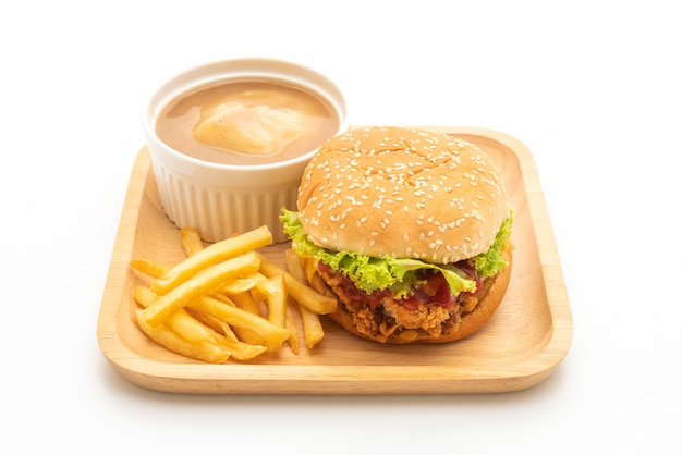 Fried chicken burger isolated on white background