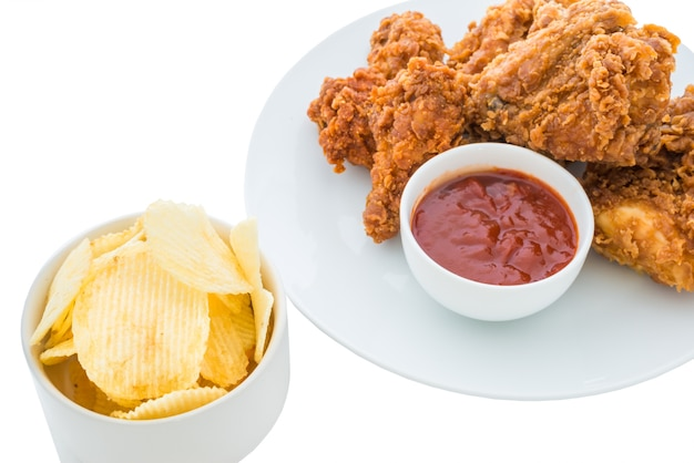 Fried chicken is isolated