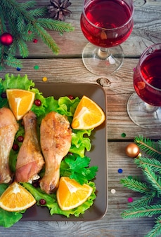 Fried chicken legs for christmas dinner on a plate with lettuce