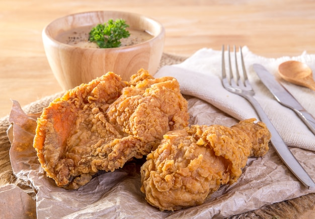 Fried chicken, mashed potato with gravy
