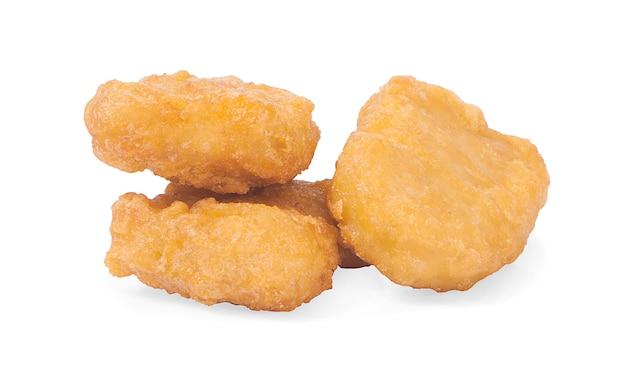 프라이드 치킨 너겟 흰색 절연