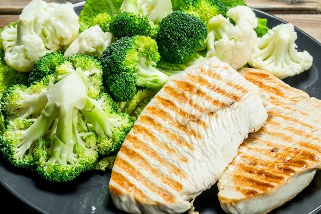 Жареный куриный стейк с брокколи в тарелке на деревянном столе.
