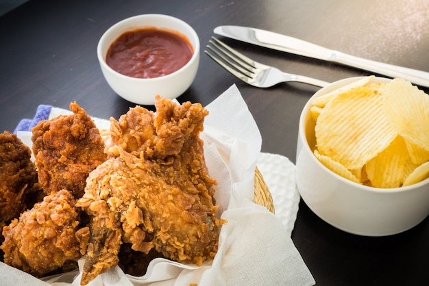 Fried chicken on the table
