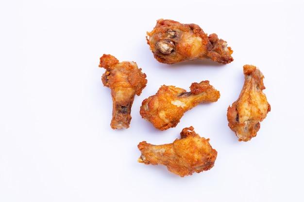 Fried chicken on white.