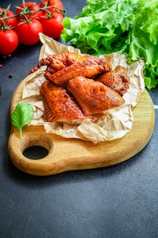 Fried chicken wings smoked meat