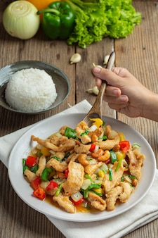 Fried chicken with cashew nuts thai food.