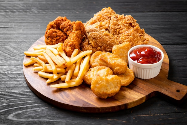 Fried chicken with french fries and nuggets meal