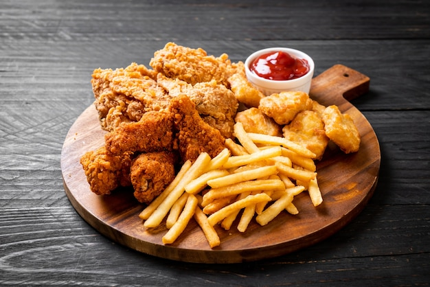 Fried chicken with french fries and nuggets