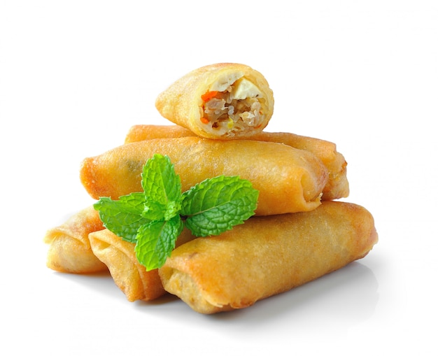 Fried chinese traditional spring rolls food isolated on white