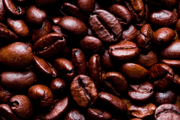 튀긴 커피 콩을 닫습니다.