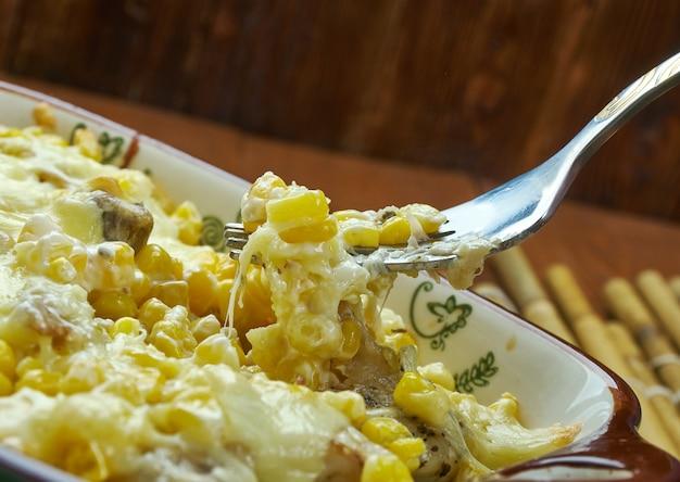 치킨을 곁들인 튀긴 옥수수 딥 - 크리올 콘테사, 남부 요리