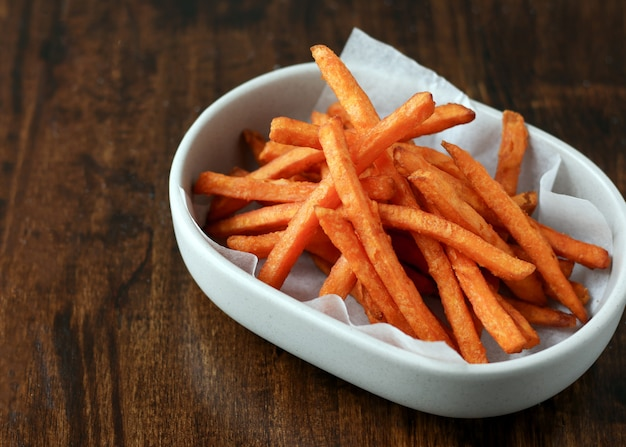 Fried crispy sweet potato, delicious french fries