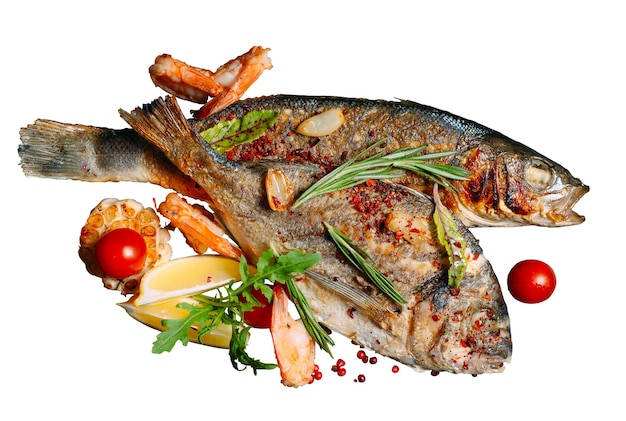 Fried dorado fish is isolated on a white background.