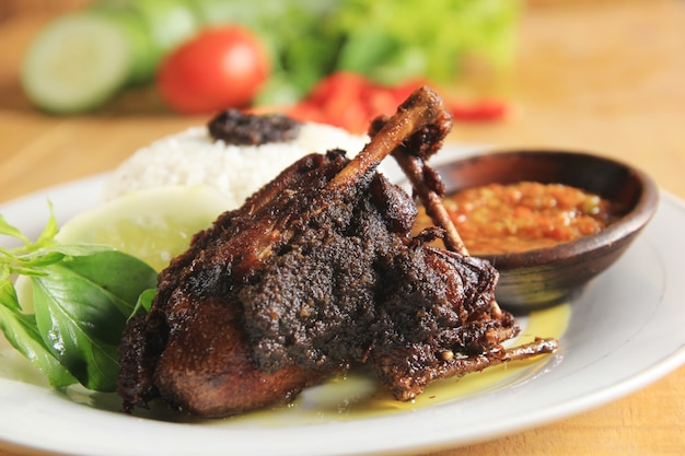 Fried duck typical indonesian food