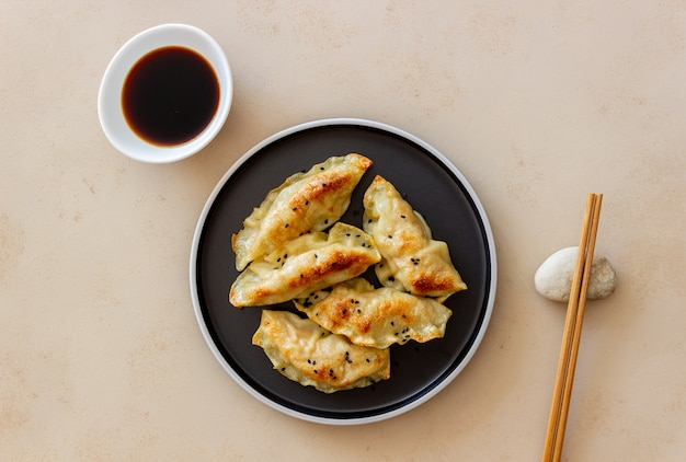 Fried dumplings with soy sauce. gyoza. healthy eating. vegetarian food.
