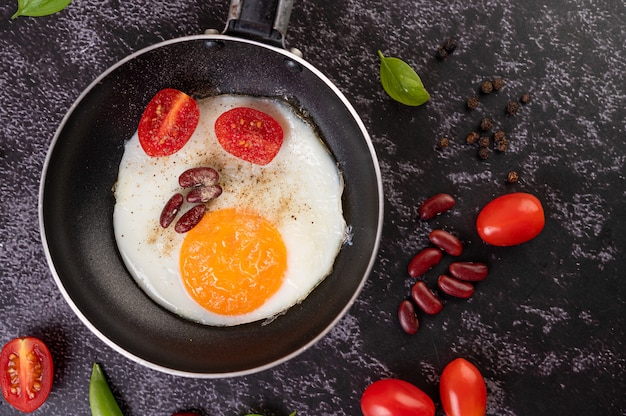 Fried egg in a frying pan.
