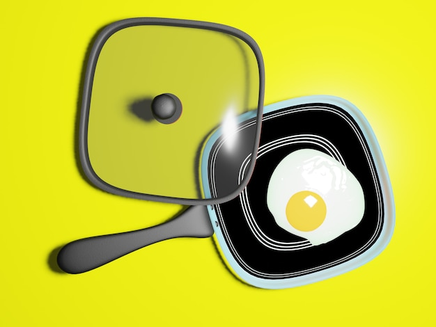 Fried egg on a hot pan and with a lid, model 3d render.