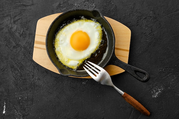 Fried egg in small cast-iron skillet