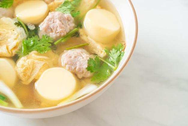 Суп из жареных яиц или суп из омлета со свиным фаршем