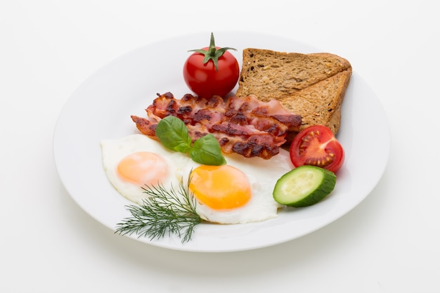 Fried eggs and bacon for healthy breakfast