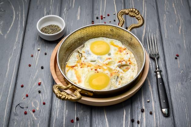 Fried eggs in a frying pan. breakfast, healthy food.