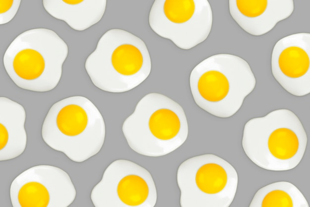 Fried eggs on a grey pattern.  illuminating and ultimate grey.