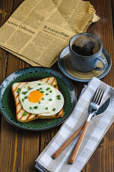 Fried eggs on toast with hot coffee
