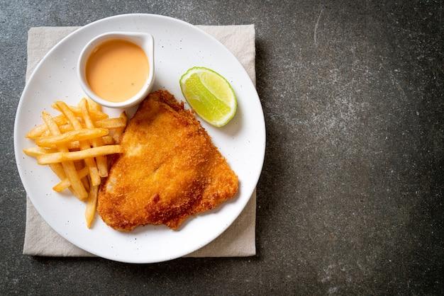 魚のフライとポテトチップス