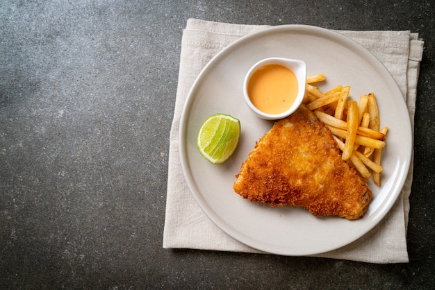 Fried fish and potato chips