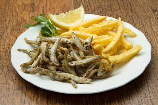 Fried fish with fries