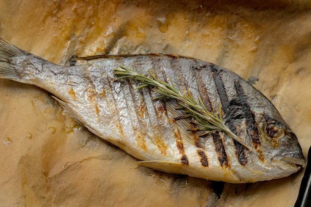 Fried fish with rosemary