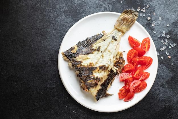 ヒラメの炒め焼き魚シーフードトマト野菜2コース