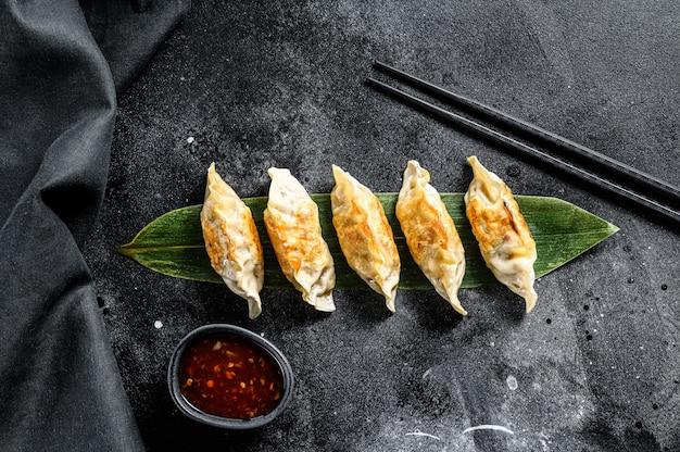 Fried japanese gyoza dumplings