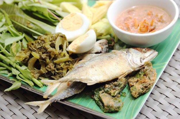 Fried mackerel fish,chili sauce and fried vegetable