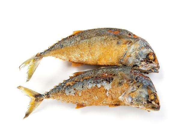 Fried mackerel or fish isolated on white background.