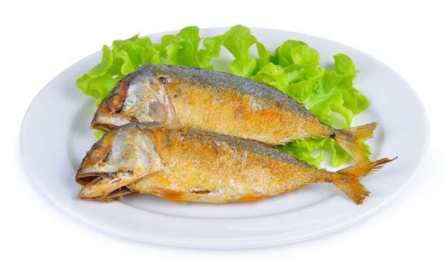 Fried mackerel on white