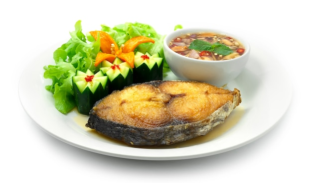 Fried mackerel with fish sauce chili dipping thai food cooked deep fried