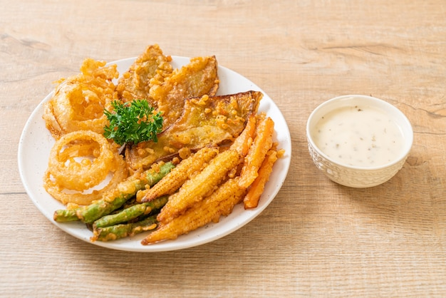 Fried mixed vegetable (onions, carrot, baby corn, pumpkin) or tempura - vegetarian food style