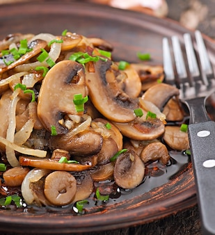 Fried mushrooms and onions