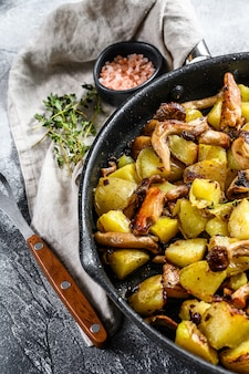 フライパンでジャガイモと揚げカキのキノコ。灰色の背景。上面図